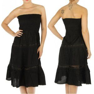 NWT Beautiful Cotton Solid Tube Tiered Dress